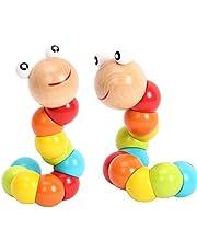 TOYMYTOY 2 unids niños torcedura de Madera orugas Creativas de Color Insectos Juguetes educativos para bebés niños pequeños como Regalo