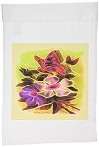 3dRose fl _ 12530_ 1mariposa rosa de té e jardín bandera, 12por 45,72cm