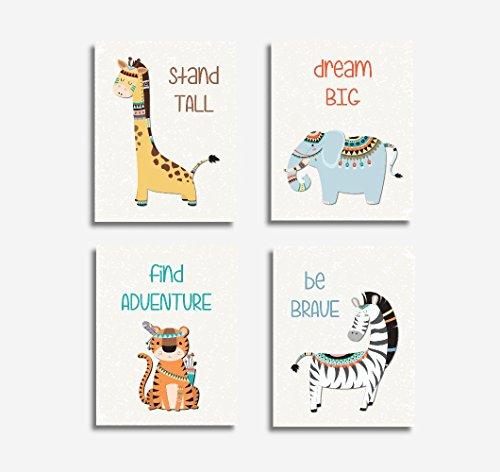 CANVAS Baby Nursery Art Tribal Animals Giraffe Elephant - Pottery Barn Airplane Art