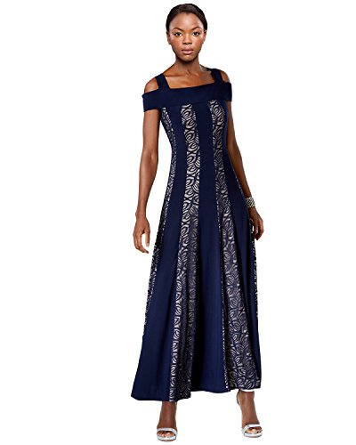 R&M Richards Cold Shoulder Lace Inset Evening Gown Dress