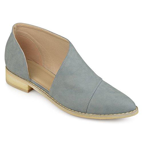 Journee Collection Womens Dorsay Almond Toe Flats Blue VvXvXy