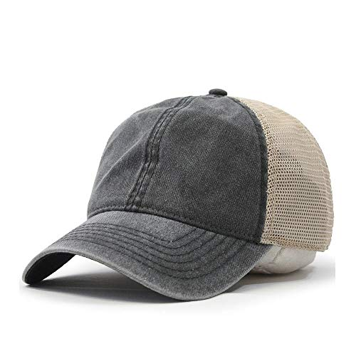 Vintage Washed Cotton Soft Mesh Adjustable Baseball Cap (Charcoal/Charcoal/Khaki)