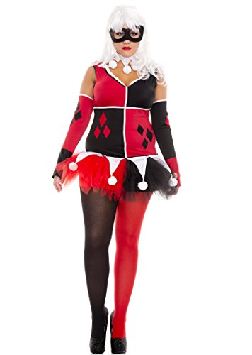 Harley Quinn Adult Womens Plus Size Costumes (Harley Jester Adult Costume - Plus Size 1X/2X)