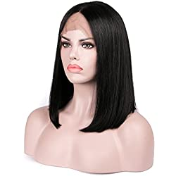 Lanyi Hair Human Hair Lace Front Wigs For Black Women Brazilian Virgin Human Hair Short Bob Wigs Straight Glueless Lace Wig 12""