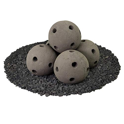 Hollow Ceramic Fire Balls | Set of 5 | Modern Accessory for Indoor and Outdoor Fire Pits or Fireplaces – Brushed Concrete Look | Charcoal Gray, 6 Inch