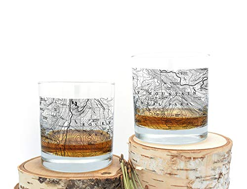 Whiskey Glasses - Rocky Mountain Topographic Map - Set of Two Screen Printed Rock ()