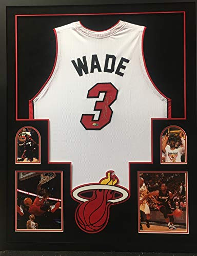 - Dwayne Wade Miami Heat Autographed Signed Custom Framed Jersey White Suede Matted 4 Picture DWade Hologram Certified