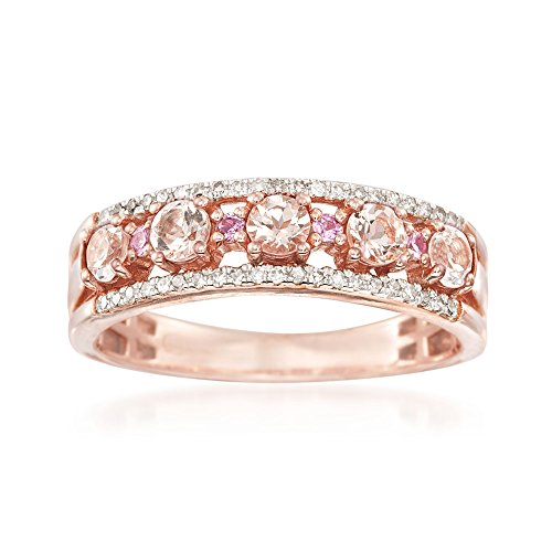Ross-Simons 0.45 ct. t.w. Morganite Ring With Diamonds and Pink Sapphires in 18kt Rose Gold Over Sterling