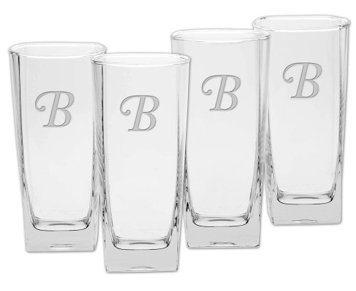 Monogram Etched Glass (Culver Deep Etched Cooler Glass, 16-Ounce, Monogrammed Letter-B, Set of 4)