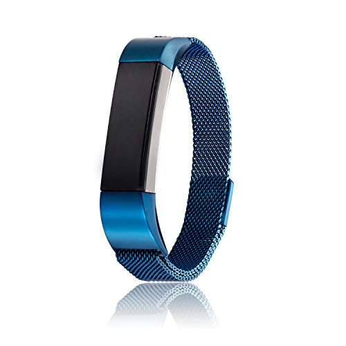 Price comparison product image 316L Stainless Steel Milanese Magnetic Loop Watchband Replacement Bracelet fit for Fitbit Alta HR Band (Blue)