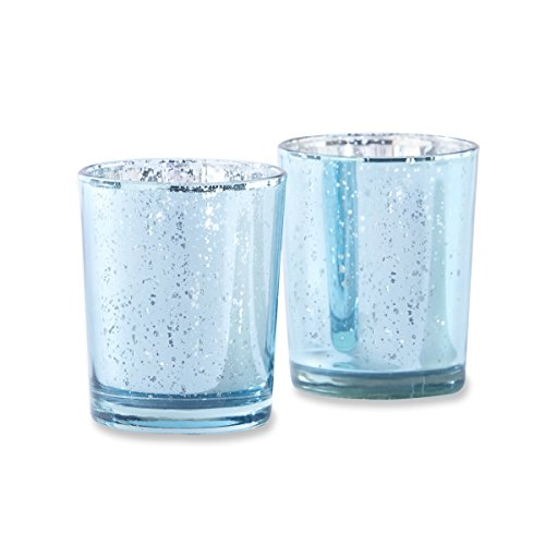 Kate Aspen Set of 12 Light Blue Mercury Glass Tea Light Hold