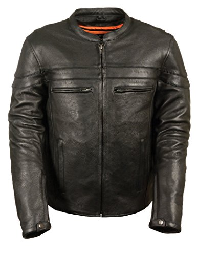 Milwaukee Men's Premium Leather Vented Scooter Jacket (Black, X-Large)
