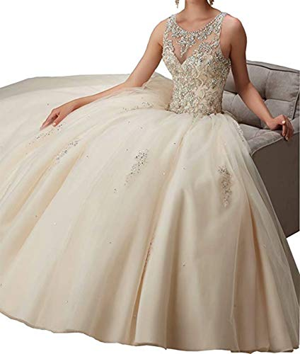 Scarisee Women's Luxurious Ball Gown Scoop Beaded Prom Quincenera Dresses Formal Evening Party Gowns Champagne 22W