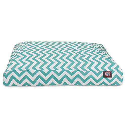Teal Chevron Extra Large Rectangle Indoor Outdoor Pet Dog Bed With Removable Washable Cover By Majestic Pet Products
