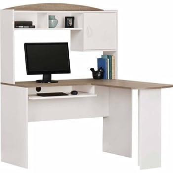 Computer Desk Corner L-shaped Ergonomic Study Table Hutch Home Office (White/Oak)