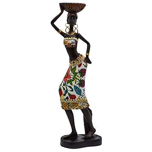 - Rockin Statue African Figurine Sculpture Colorfull Dress Standing Lady Figurine Statue Decor Collectible Art Piece 13