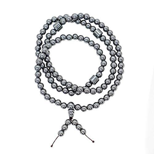 (Cacyy Pure Titanium Bracelet 108 Beads Magnetic Necklace Bracelet Bracelet Unisex Sports Balance Wristband Silicone Adjustable Bracelet Retro Relief Migraine and Osteoarthritis)