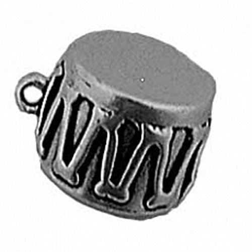 Sterling Silver 3D Musical Instrument Snare Drum Dangle Charm Bead For Bead Charm Bracelet