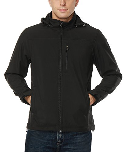 MIER Men's Softshell Jacket with Removable Hood Fleece Winter Jacket, Water/Wind Resistant, Black, (Motion Soft Shell Jacket)
