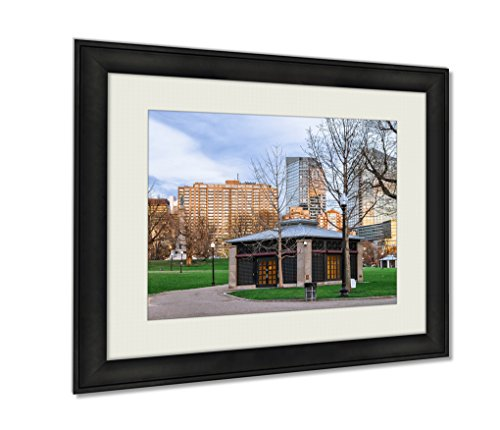 Ashley Framed Prints, Boston Common Public Park With People In Downtown Boston Ma, Wall Art Decor Giclee Photo Print In Black Wood Frame, Ready to hang, 20x25 Art, - Ma Downtown