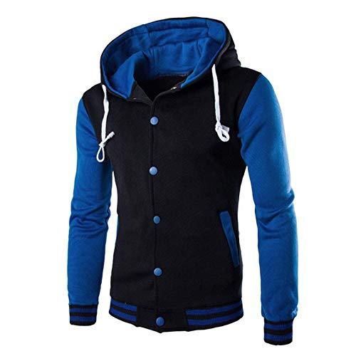 (Mens Casual Slim Fit Hoodie Sweatshirts Winter Warm Panel Button Jacket Coat Outwear Sweater Tops T-Shirts Blue )
