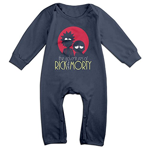 KIDDOS Baby Infant Romper Rick And Morty Adventures Long Sleeve Jumpsuit Costume,Navy 24 Months