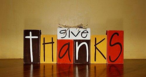 Give Thanks Thanksgiving WoodenBlock Shelf Sitter Stack (Thanks Blocks Give)