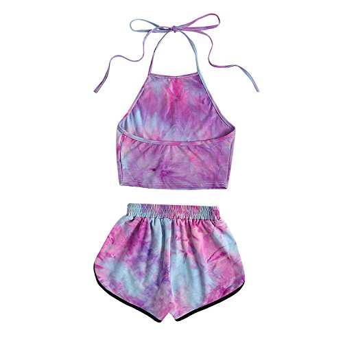 SYL Women's Sleepwear Soft Tie Dye Sleeveless Halter Crop Top and Shorts Set (M, Purple)