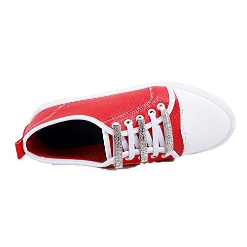 VogueZone009 Tacco Puro Flats Basso Donna Allacciare Punta Rosso Chiusa Ballet rgnXrq1a