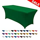 ABCCANOPY 30+ Colors Spandex Table Cover 6 ft. Fitted Polyester Tablecloth Stretch Spandex Tablecover-Table Toppers(Forest Green)