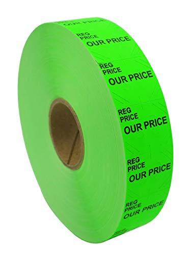 (Amram 2 Line Price Marking Labels, Fluorescent Green Reg Price/Our Price, 1 Sleeve of 14,000 Labels (8 Rolls, 1,750 Labels Per Roll) for Monarch 1136. Includes 1 Replacement Ink Roller.)