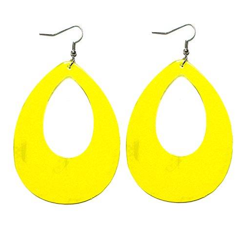 (1980s Fashion Retro Neon Nation Circular Oval Earrings for Women(Yellow Raindrop))