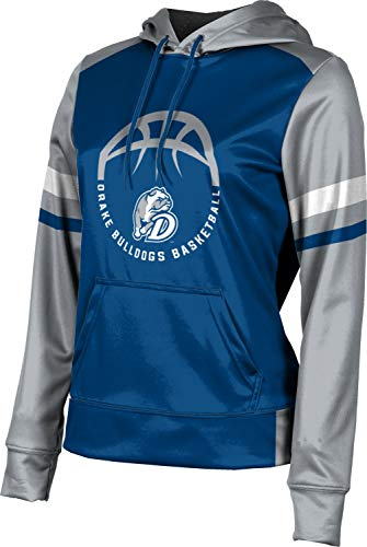 ProSphere Drake University Basketball Girls' Pullover Hoodie, School Spirit Sweatshirt (Old School) 1004C Blue and Gray
