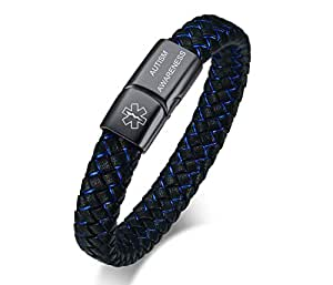 VNOX Medical Alert ID Autism Awareness Blue&Black Braided Leather Stainless Steel Magnetic Cuff Bracelet