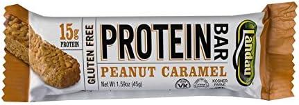 Landau Protein Bar, 15 g Protein 1.59 oz bar, 12 Bars Peanut Caramel