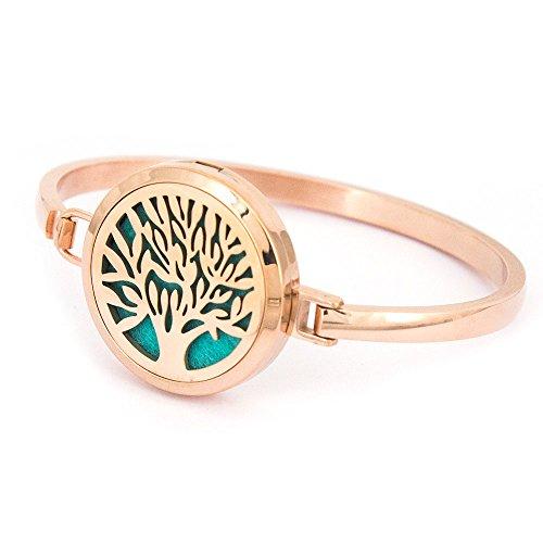30 Mm Rose (Mesinya 30mm Rose Gold Tree Aromatherapy /316L s.steel Essential Oils Diffuser Locket bracelet bangle 7'' wrist)