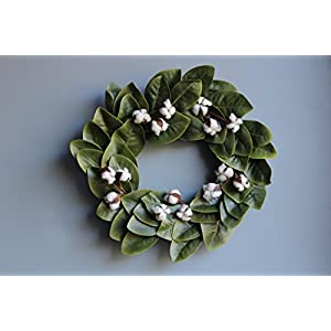 Urban Legacy Magnolia Leaf and Cotton Wreath, 20 inches with Grapevine Wreath Back (Adjustable Leaves, 5 Cotton Stems with 3 Bolls on Each, Artificial Leaves) 80