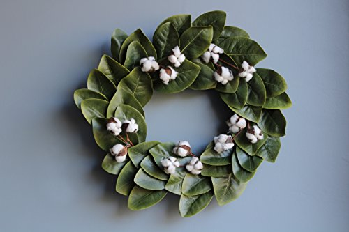 Urban Legacy Magnolia Leaf and Cotton Wreath, 20 inches with Grapevine Wreath Back (Adjustable Leaves, 5 Cotton Stems with 3 Bolls on Each, Artificial Leaves)