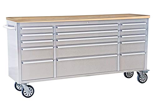 "72"" Tool Box Width 15 Drawers Anti-Fingerprint Stainless Steel Tool Chest with Work Station"