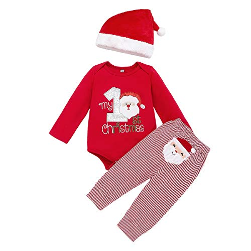 Christmas Outfits Baby Boys Girls My 1st Christmas Santa Claus Rompers Bodysuit Pants with Christmas Hat 3 Pcs (Red, 9-12 Months) (First Christmas Baby Hat)