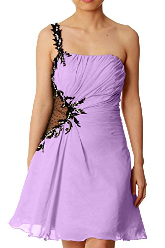 MACloth Women One Shoulder Chiffon Mini Prom Party Dress Cocktail Formal Gown Lavanda