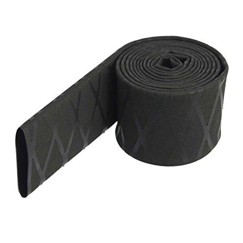 MagiDeal Φ20mm Φ25mm Φ30mm Non Slip Heat Shrink Tubing Textured Grip Fish Rod Racket Sleeve Handle - Black, Φ25mm(43mm Flat) (Material Tubing)