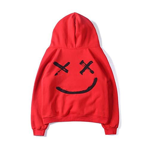 Rouge2 Mode Poche Manches Longues Pull Sportif Tops Blouse Imprime Kangourou Homme Hoodies Smile Sweat Casual Capuche Face Basique À qwxz7HOvCU