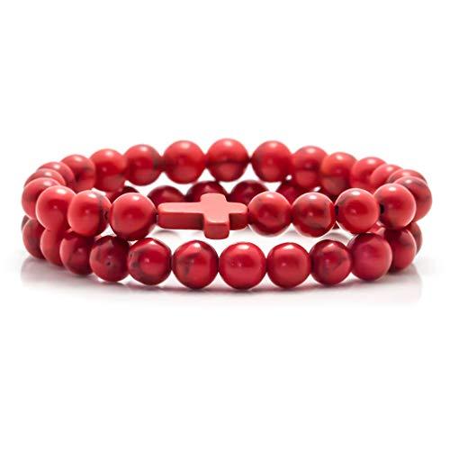 (Fusamk 2PCS Cross Turquoise Bracelet Natural Stone Lava Beads Essential Oil Diffuser Bracelets,7.5
