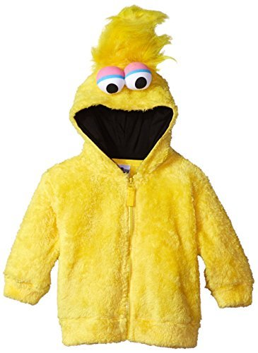 Sesame Street Toddler Boys' Fuzzy Costume Hoodie (Multiple Characters), Big Bird Yellow, 4T