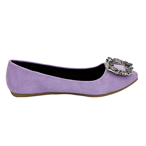 AalarDom Womens Frosted Pull-On Pointed-Toe No-Heel Solid Imitated Suede Flats-Shoes Purple-zircon Jki4Blm2dn
