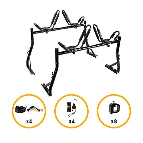 AA Products Model X35 Truck Rack with 8 Non-Drilling C-Clamps and 2 Sets Kayak J-Racks with Ratchet Lashing Straps & Ratchet Bow and Stern Tie Down Straps ()