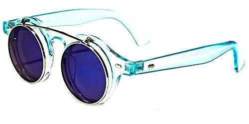 adda14e153 Galleon - Round Flip Up 42mm Men Women Django Levante Gafas De Sol  Sunglasses (Aqua)