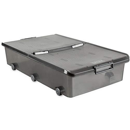Tatay 1151114 Caja de Almacenamiento Multiusos Bajo Cama con Tapa y Ruedas, 63 l de Capacidad, Plastico Polipropileno Libre de BPA, Marron Translucido, 45 x 78 x 18 cm