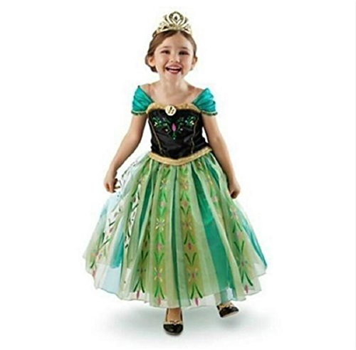 DaHeng Girls Princess Green Anna Fancy Dress Costume,5-6 years (Size 130)